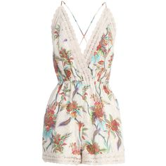 Keeper Lace Crossback Playsuit ($280) ❤ liked on Polyvore featuring jumpsuits, rompers, dresses, playsuit, macacão, floral jumpsuit, lace rompers, pink romper, floral print romper and romper jumpsuit