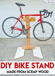 DIY Bicycle Repair Stand Bike Tutorial - Learn how to make a bicycle repair stand out of wood scraps. This frugal project goes together quickly and will help you to make adjustments to your bike without stressing out your body. #howtorepairbike #bikerepairstand