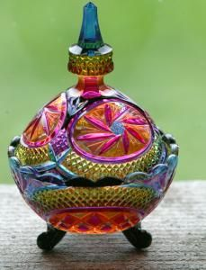Sugar bowl | Hand painted stained glass. Colorful rainbow.