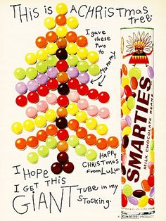 1966 Smarties advert, before my time but I remember those tubes well Christmas Ad, Christmas Themes, Vintage Christmas, Retro Candy, Vintage Candy, Retro Advertising, Vintage Advertisements, Candy Signs, Types Of Candy