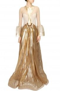 Gold faux metal embellished gown - Amit Aggarwal