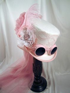 Steampunk White Riding Hat with Pink Goggles and Gears with Netting | eBay