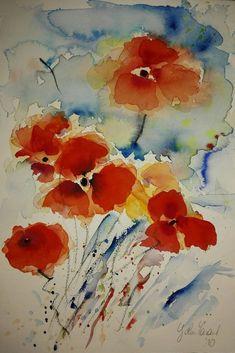 Aquarell Original abstrakte Blüten von John Tarant   eBay