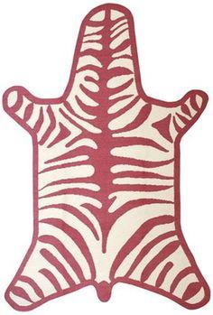 Jonathan Adler Zebra Rug in Peruvian Flat Weave Rugs Jonathan Adler, Chinoiserie, Dash And Albert, Orange Rugs, Pink Zebra, Green Zebra, Modern Area Rugs, Classic Furniture, Zebras