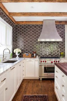 TerraCotta Properties Kitchen with Brown Moroccan Tiles Backsplash, Transitional, Kitchen