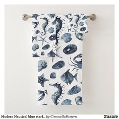 Modern Nautical blue starfish seahorse seashell Bath Towel Set Bath Towel Sets, Bath Towels, Starfish, Sea Shells, Nautical, Print Design, Pillows, Modern, Blue