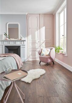 Laminate floor Swanley Smoked oak 12 mm (sold by the boot) Room Decor Bedroom, Girls Bedroom, Living Room Decor, Pastel Room Decor, Deco Rose, Stylish Bedroom, Aesthetic Bedroom, Pink Room, Rose Gris