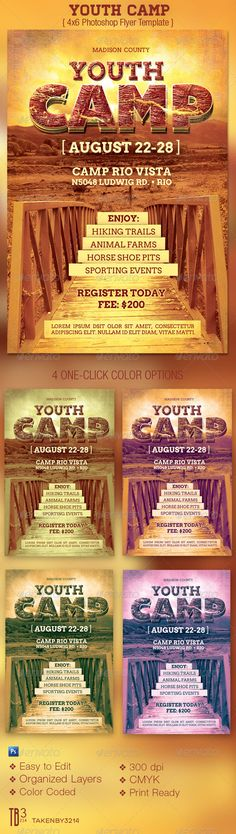 Buy Youth Camp Flyer Template by on GraphicRiver. Youth Camp Flyer Template is for a church or camp organization. In this package you'll find 1 Photoshop files with 4 . Fashion Design Template, Flyer Design Templates, Print Templates, Flyer Template, Psd Templates, Summer Camp Crafts, Camping Crafts, Youth Camp, Church Events