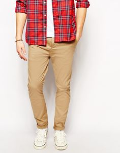 $36, Khaki Chinos: Asos Brand Skinny Chinos. Sold by Asos. Click for more info: https://lookastic.com/men/shop_items/182627/redirect