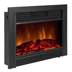 """Best Choice Products SKY1826 Embedded Fireplace Electric Insert Heater Glass View Log Flame Remote Home, 28.5"""""""