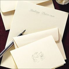 stationeryxpresscom embossed stationery set 200 pieces pinnacle cards - Personalized Embossed Note Cards