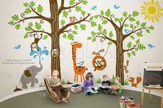 Kid Playroom Wall Decal Woodland Tree Animal monkey by NouWall, $260.00