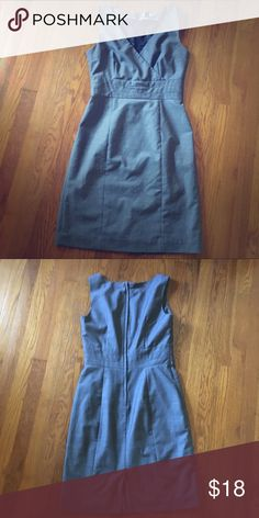 Grey H&M dress Lines with zip up back | fitted at waist with cross over bust | great for the office / bundle & save! H&M Dresses Midi