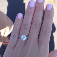 Round cut diamond engagement ring with skinny pave band! We are engaged! I LOVE my ring :) Now my wedding board gets serious! October 3, 2015!