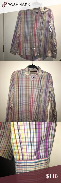 ETRO Men's Multicolored Dress Shirt, Size 41 ETRO's stylish multicolored dress shirt. Size 41. 100% Cotton. Spread collar. Rounded barrel cuffs. Front button closure. Made in Italy. Excellent, like new condition. Etro Shirts Dress Shirts