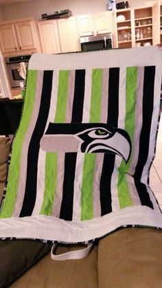 Made with Kona Cotton, a little bit microfiber and so much love ? Seahawks Football, Seattle Seahawks, Pattern Blocks, Quilt Patterns, Block Patterns, Quilting Designs, Quilt Design, Quilting Ideas, Sport Themed Crafts