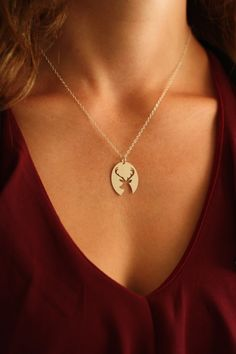 SALE - Deer Antler Necklace - Deer Jewelry - Elk Antlers - Buck - Great Outdoors - Hunter Wife - Hunting Wife - Woodland - Deer Pendant