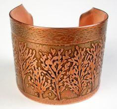 Etched Copper Bracelet Rustic Copper Cuff Hammered by FebraRose