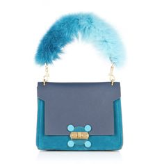 Anya Hindmarch Blue Bathurst X Bag with Fox Fur Handle (¥258,645) ❤ liked on Polyvore featuring bags, handbags, shoulder bags, blue, anya hindmarch handbags, anya hindmarch purse, handle handbag, blue handbags and top handle purse