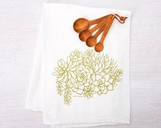 Kitchen Towels Hand Printed Towels Choose Your Set of 10