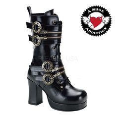 Buy Women's gothic boots online - DEMONIA Black Gothic Goth Cyber Steampunk Thick Heels Boots in Australia. Visit our website to buy Gothic Shoes! Womens Gothic Boots, Gothic Shoes, Boots Online, Calf Boots, Exclusive Collection, Cyber, Rubber Rain Boots, Heeled Boots, Calves