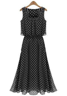 Black Polka Dot Sleeveless Chiffon Maxi Dress