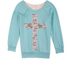 Floral Cross Crochet Sweatshirt ($35) ❤ liked on Polyvore
