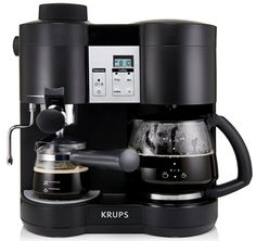 Become your own personal barista with the Krups Combi Steam Espresso Machine. The steam-driven machine brews the perfect cup of coffee and a strong expresso, while the included steam nozzle froths milk to create a delicious cappuccino. Espresso Machine Reviews, Coffee Maker Reviews, Best Espresso Machine, Coffee And Espresso Maker, Best Coffee Maker, Drip Coffee Maker, Nespresso, Krups Coffee, Coffee Varieties