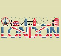 Cross stitch this Modern London England Cross Stitch Pattern Banner for those aspiring to travel or love the city of London England. I know I am