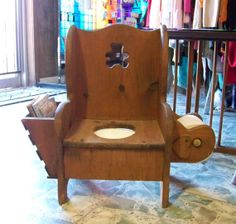 Vintage Wooden Childs Potty Chair With Story Book Rack And Tissue Holder