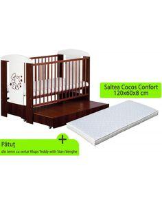 Patut Klups Teddy with stars cu setar si saltea inclusa Cribs, Giraffe, Toddler Bed, Stars, Baby, Furniture, Home Decor, Cots, Child Bed