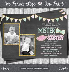 Twins Birthday Invitation Tutus and Ties by PuggyPrints on Etsy