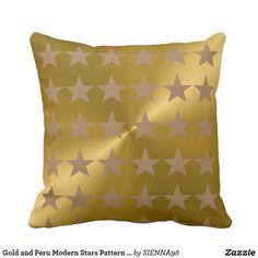 Gold and Peru Modern Stars Pattern Cotton