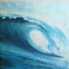 """Encaustic beeswax painting collage - Curling Wave series 6 peeling right, 8""""x8"""" (surf art, blue wave)"""