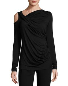 Asymmetric+Cutout+Jersey+Top,+Black+by+Bailey+44+at+Neiman+Marcus+Last+Call.