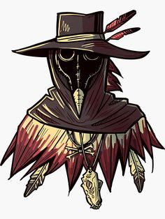'Western Plague Doctor' Sticker by spacemerperson Plauge Doctor, Doctor Mask, Fantasy Character Design, Character Art, Bugs Bunny Drawing, Black Plague Doctor, Doctor Tattoo, Doctor Drawing, Plague Mask