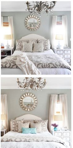 Guest Bedroom idea: LOVE the chandelier, pop of color and mismatched (yet coordinated) side tables. Home Bedroom, Master Bedroom, Bedroom Decor, Bedroom Ideas, 1980s Bedroom, Bedroom Colors, Bedroom Inspiration, Decoration Inspiration, Decor Ideas