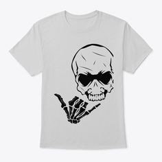 Add some fun to your wardrobe with this skateboarder skull and shaka design or give it as the perfect gift! Click the shirt to link to our store. Choose your size, style, and color then BUY IT NOW to place your order. Skull Shirts, T Shirts, Cool Tees, Skateboarding, Tshirts Online, Some Fun, Gift Ideas, Store, Link