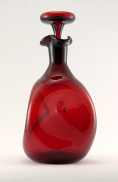 Vintage Ruby Red Handblown Art Glass Decanter by Blenko