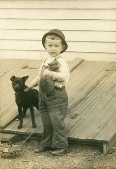 ~~I love the look on this cat's face. This little boy has all he needs: a cat, a dog, and a little wagon.~~
