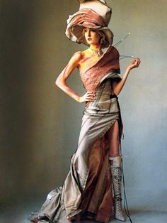 'How to Wear Couture', Maggie Rizerby Irving Penn, Vogue US April 2000.  Christian Dior Spring Summer 2000 Haute Couture