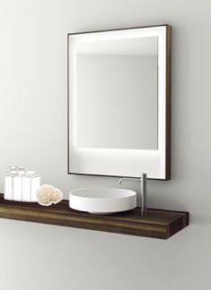 Lotus Washbasin (Naoto Fukasawa) on Timber Flyer, SP14 mirror (Neunzig Design), Boffi Bathroom
