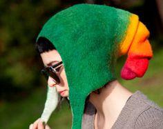 Unique handmade felt hats - Green