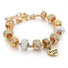 Features: Item Type: Bracelets Fine or Fashion: Fashion Length: 19cm Clasp Type: Lobster Metals Type: Gold Plated Shape\pattern: Heart Gender: Women Style: Classic Setting Type: Bezel Setting Material