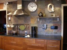 38 Stunning Rustic Kitchen Wall Decorating Ideas While you want to remodel your kitchen, various elements have to be taken under consideration. The kitchen comes with a regal design style, Slate Kitchen, Lemon Kitchen Decor, Kitchen Decor Themes, Diy Kitchen, Kitchen Design, Kitchen Ideas, Kitchen Inspiration, Kitchen Layout, Kitchen Colors