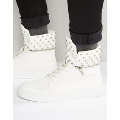 ASOS High Top Sneakers In White With Stud Detailing ($58) ❤ liked on Polyvore featuring men's fashion, men's shoes, men's sneakers, white, asos mens shoes, mens high top shoes, mens lace up shoes, mens white shoes and mens studded sneakers