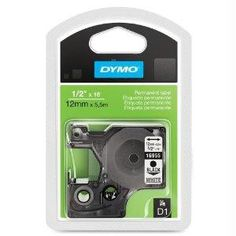 Dymo 0.5in (12mm) Permanent High Performance D1 Labels, 18in Long, 1 Roll Per Box