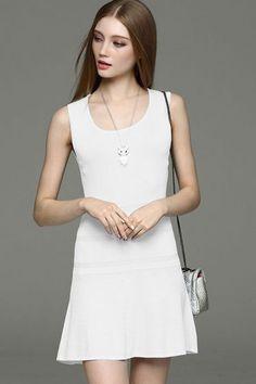 Slim plain scoop neck knit dress -KnitFans