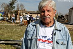 United States — George, a volunteer, stands outside the wreckage of a street in Texas devastated by last week's tornado.  Take a moment to pray for volunteers, like George, who do not hesitate to jump in when others are in need. Pray that God will lead them to where they are needed most to bring light to those disheartened after this disaster. #PhotoPrayerOfTheDay