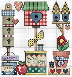 Cross-stitch Birdhouses, part 3 ... no color chart available, just use pattern chart as your color guide.. or choose your own colors...   Schema punto croce Quadro Countriy 26